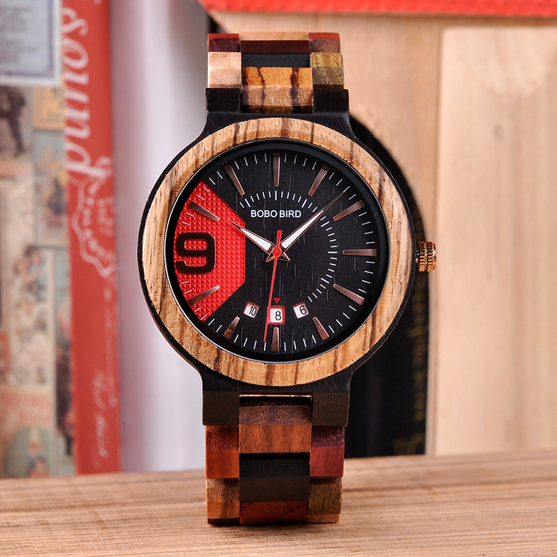 Relogio Masculino BOBO BIRD Men Watch Wood Timepiece Auto Date Colorful Band Military Wristwatch Gift Wooden Box To Father U-Q13(China)