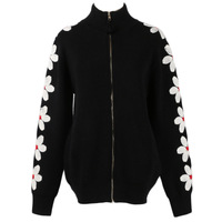 GRUIICEEN embroidery floral knitted cardigan jacket korean style winter women sweater cardigan with zipper GY2018542