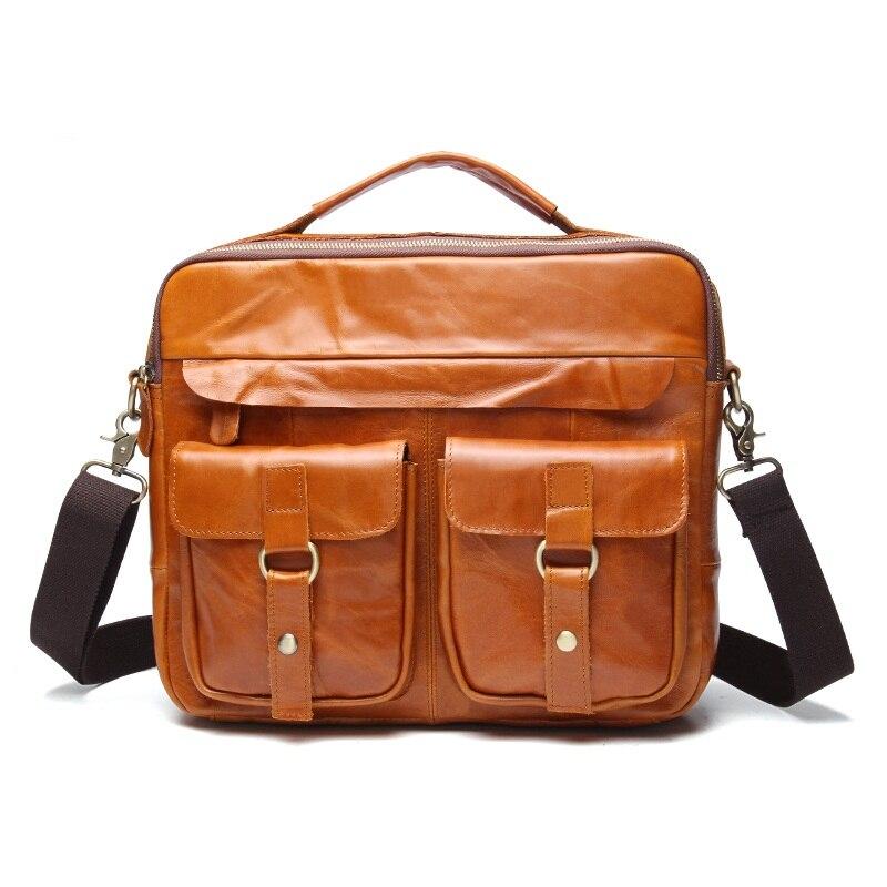 ФОТО Genuine leather vintage men bag laptop handbags casual business Portable Briefcase Crazy horse leather men shoulder Travel bags