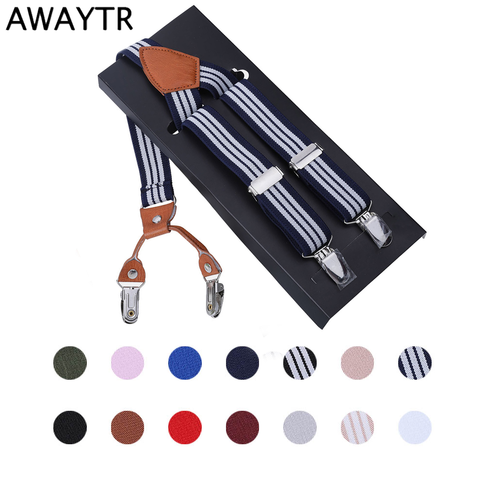 AWAYTR 2.5*110cm Suspenders For Men 4 Clips And Unisex Braces Suspender Black Adult Adjustable Elastic Suspenders With Box