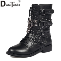 DoraTasia 2017 Brand New Large Size 34 43 Fashion Western Cow Woman Boots Ankle Straps Square