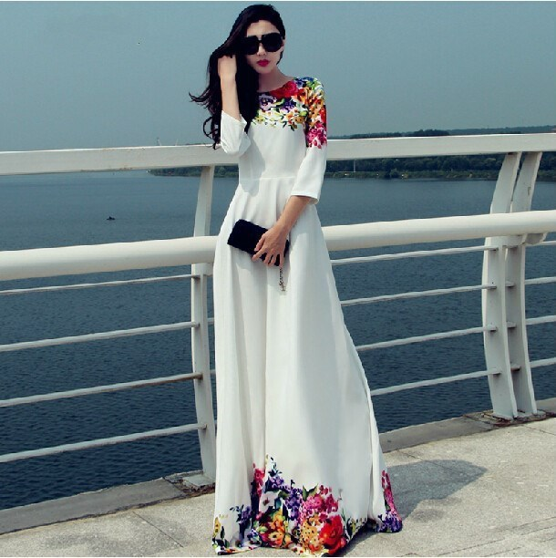 2016New Ladies Elegant Long Dress Fashion Print White Maxi Dress With Flowers  Women O-Neck High Waist Evening Gown Free Shipping 9df9042ab279