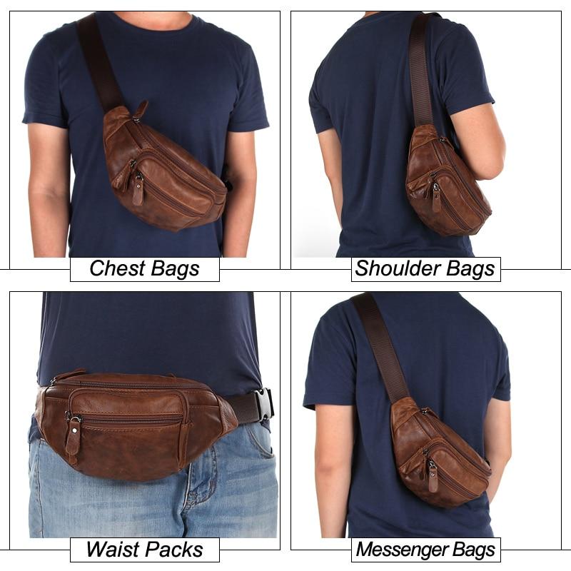 2019 Men Waist Packs Genuine Leather Travel Waist Bag Male Fanny Pack Belt  Bag Phone Pouch Bags Small Leather Pouch-in Waist Packs from Luggage   Bags  on ...