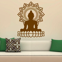 ZOOYOO Indian Design Lotus Flower Wall Stickers Home Decor Buddha Wall Decals Vinyl Art Removable extra thick classical flower design home decor vinyl wallpapers