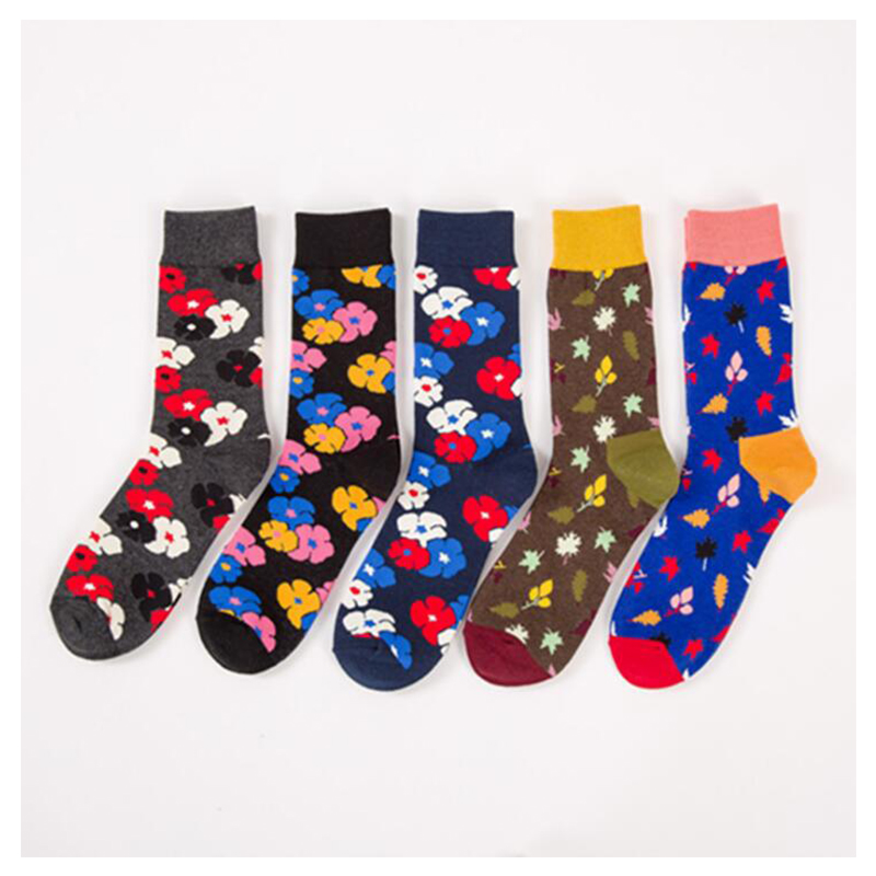 Men's Socks 2018 New Arrive Men Flower Happy Socks Cotton Compression Colorful Crew Socks For Men Male Funny Socks Skarpetki S5 Refreshing And Enriching The Saliva