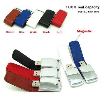 Unidad flash usb de cuero magnética de alta calidad, memoria usb, memoria usb, mini regalo de negocios, 4gb, 8gb, 16gb, 32gb, colorido