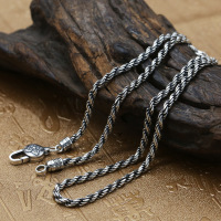 Solid Silver 925 Simple Twisted Chain Mens Necklace Thai Silver 925 Sterling Silver Mens Jewelry Accessory Brief Design Free Box