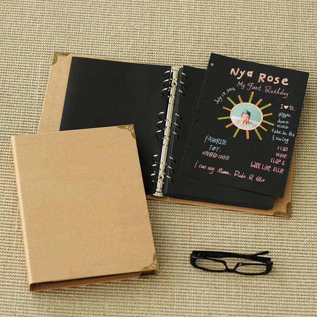 6ff5e331fd1b 9 hole blank pocket book DIY paste type classmates kraft paper notebook  manual retro Gallery