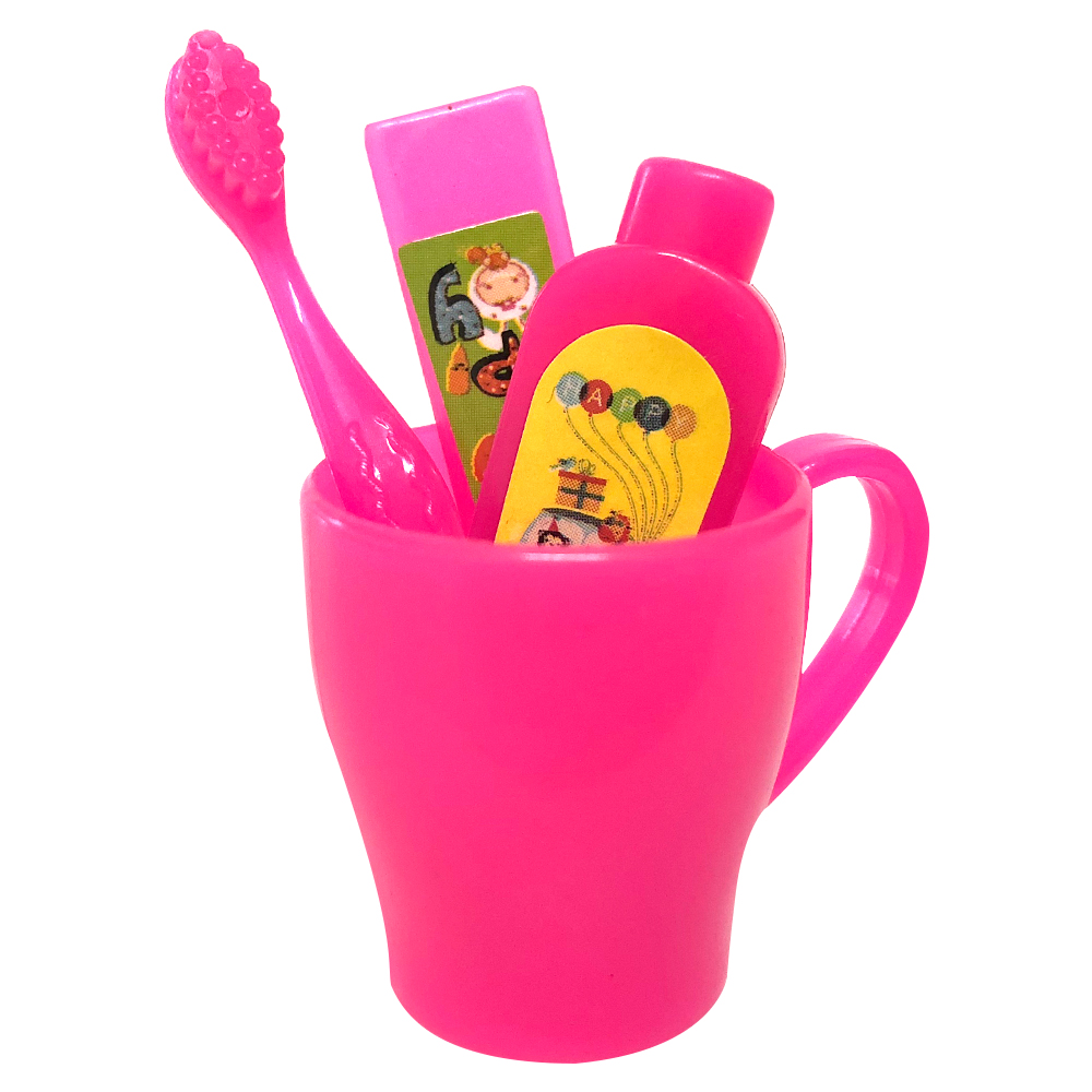 NK 4 Pcs/Set Doll Accessories Mini Toothpaste Kit Toothbrush Cleanser Cup Toothpaste For Barbie Doll Best Gift Necessary Toys DZ