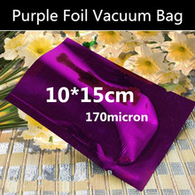 Wholesale 100pcs 10cmx15cm 170micron 3 Sides Purple Heat Sealed Bag Vacuum Foil Packaging Bag