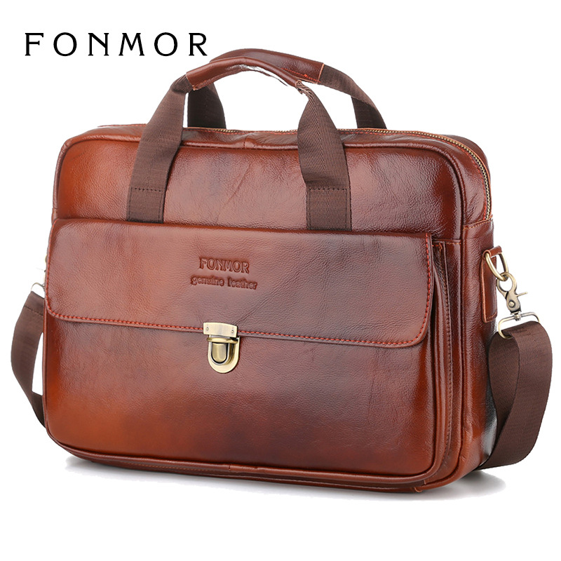 Fashion Men Business Genuine Leather Bags High Quality Oil Wax Real Leather Laptop Briefcase Classic Retro Casual Messenger Bags