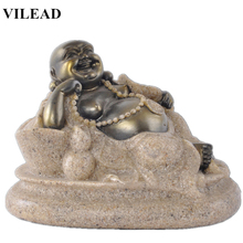 VILEAD 3.1 Nature Sand Stone Maitreya Buddha Statues Religious Laughing Figurines Christmas Decorations for Home Vintage