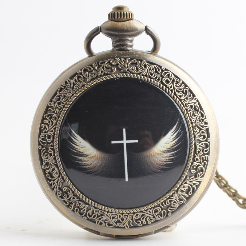 Pocket & Fob Watches  Cross Wings  Quartz Pocket Watch Pendant Chain Necklace for Women/Men Watch Gift