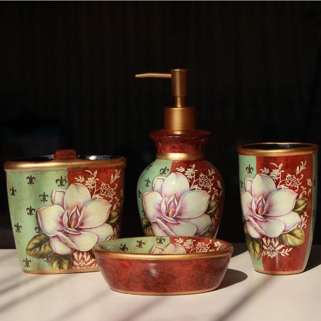 Retro Floral Patterned Ceramic Bathroom Accessories Set