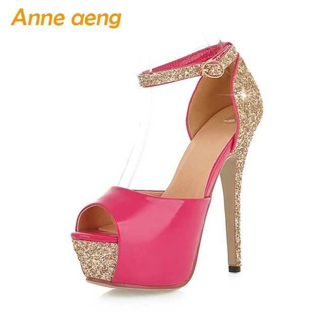 5eb10f8cf8a summer women sandals 13cm high heel bling platform shoes peep toe sex ladies  wedding shoes bridle