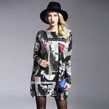 Для женщин свитер один размер пуловеры уличная вязаный свитер длинный рукав длинный свободный дизайн зимние Прямая поставка
