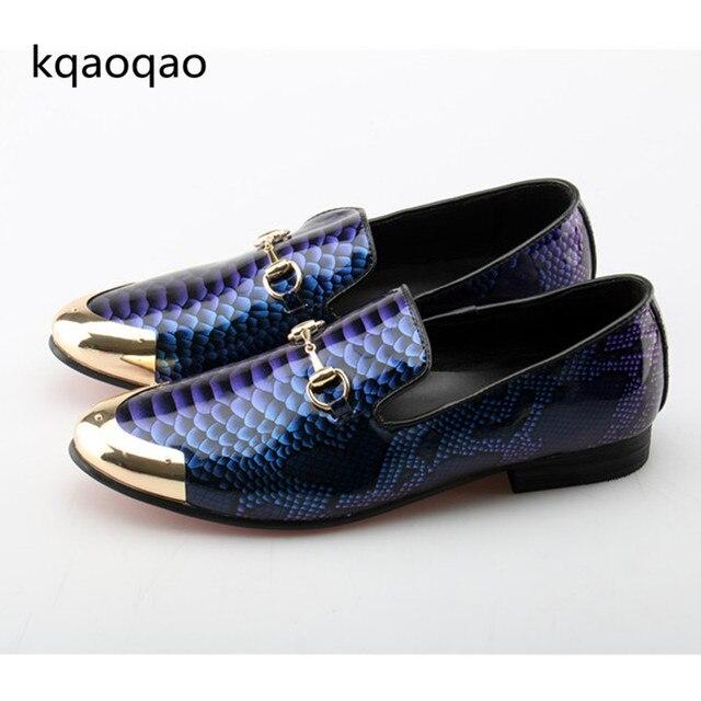 19c22cd1e Kqaoqao 2018 Imprimir Oxford Sapatos Masculinos Sapatos de Casamento Do  Dedo Do Pé de Metal Bonito