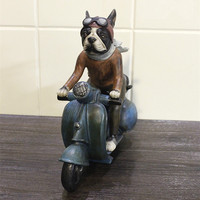 New Creative Personality French Bulldog Dog Locomotive Motorcycle Resin Dog Ornaments Figurine Statue Artificial Best Gift