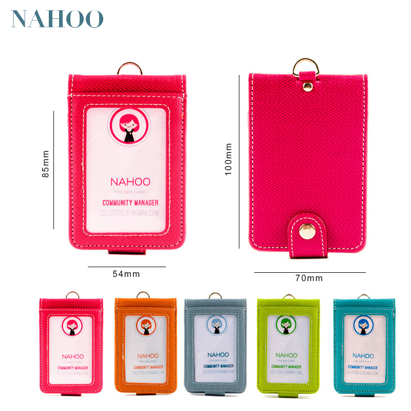 Nahoo Lanyards Id Nurse Badge Holder Leather Name Tag Bank Credit Card Candy Color Identity Badge Holders Exhibition Staff Cards new exhibition cards id badge holder name tag staff business card cover badge holders school office stationery supplies