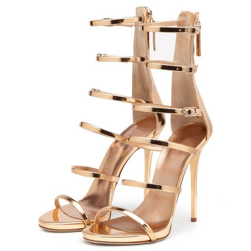 THEMOST Dames Hoge hakken Vrouwelijke sandalen Nieuwe mode Gladiatorgesp Zip Dunne hakken Gouden schoenen vrouw Sandalias