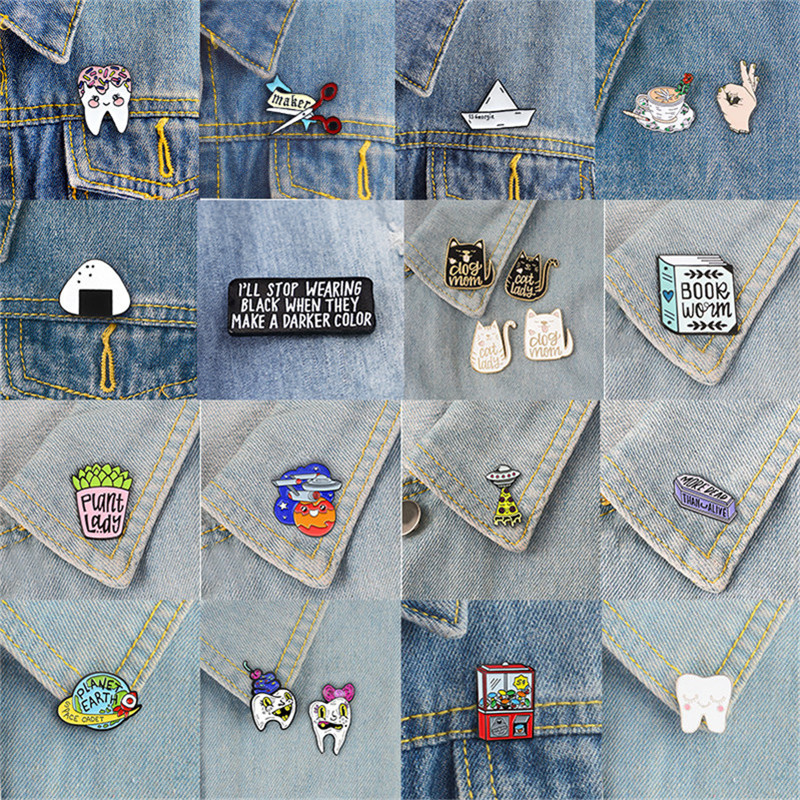 Custom Lapel Pin Brooches Cherry Blossoms Spring Theme Art Banquet Badge Pins Trendy Accessory Jacket T-Shirt Bag Hat Shoe