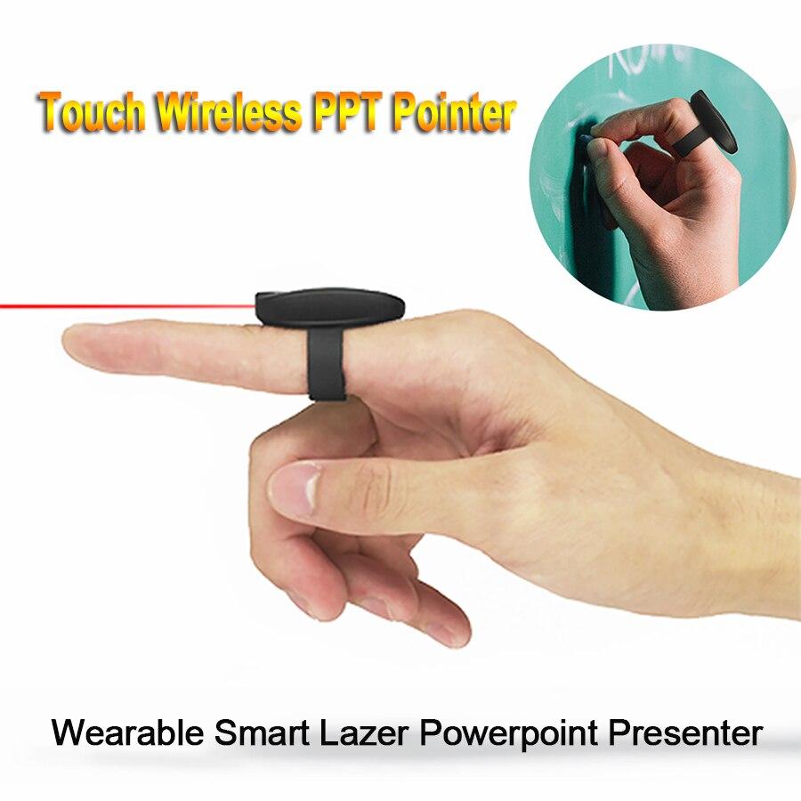 Sans fil Laser PPT Pointeur 2.4g RF USB Flip Page Tournant Télécommande Tactile Doigt Anneau Lazer Pointeur Rouge Powerpoint présentateur