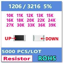 JASNPROSMA 1206 J 5% 5000 шт. 10K 11K 12K 13K 15K 16K 18K 20K 22K 24K 27K 30K 33K 36K 39K Высокое качество smd 3216 сопротивление ом
