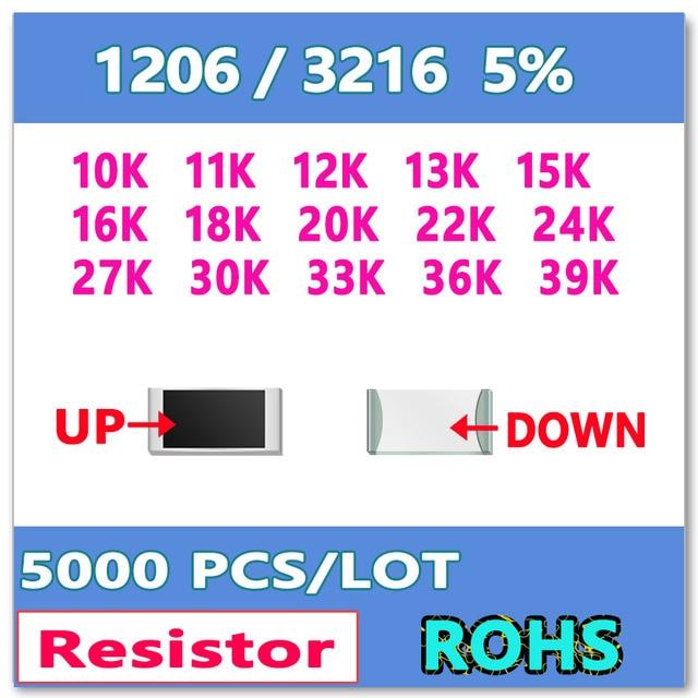 JASNPROSMA 1206 J 5% 5000 pièces 10K 11K 12K 13K 15K 16K 18K 20K 22K 24K 27K 30K 33K 36K 39K haute qualité smd 3216 ohms