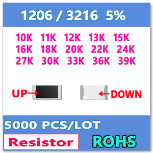 Image 1 - JASNPROSMA  1206 J 5% 5000pcs 10K 11K 12K 13K 15K 16K 18K 20K 22K 24K 27K 30K 33K 36K 39K High quality smd 3216 OHM Resistor