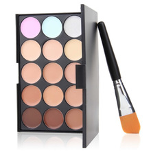 2016 Fashion hot 1set 2016 New 15 Colors Contour Face Cream Makeup Concealer Palette Powder Brush Hot Selling