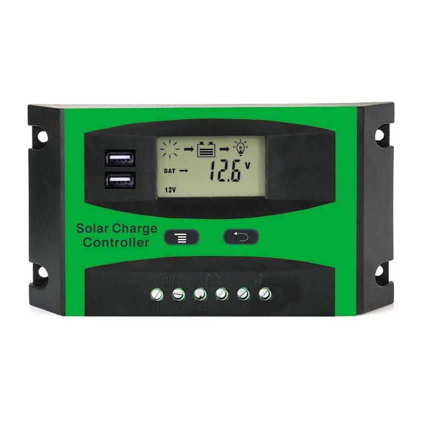 10a 20a 30a Pwm 12v 24v Solar Controller Lcd Function Dual