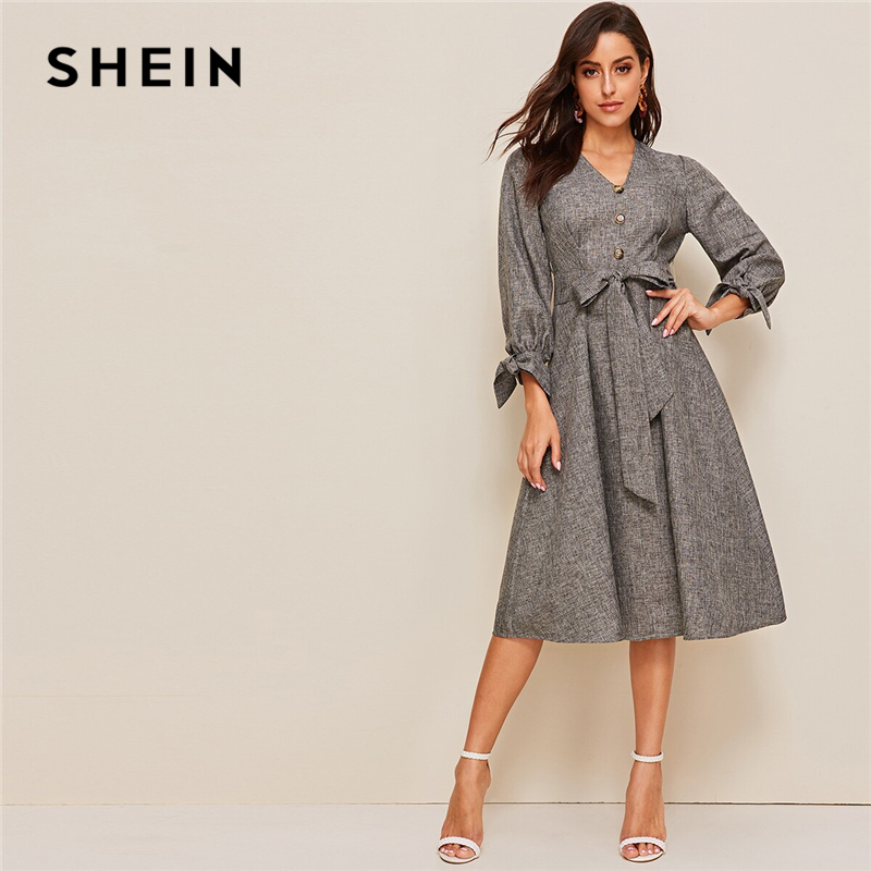 SHEIN Button Front Knot Cuff Self Belted Dress V Neck Summer Dress 2019 Spring Autumn Elegant Bow High Waist A Line Dresses