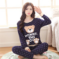 2016 New Fashion Autumn Cartoon Women Pajamas Sets Long Sleeved Clothes Home Furnishing Lounge Sleepwear Homewear JA5034