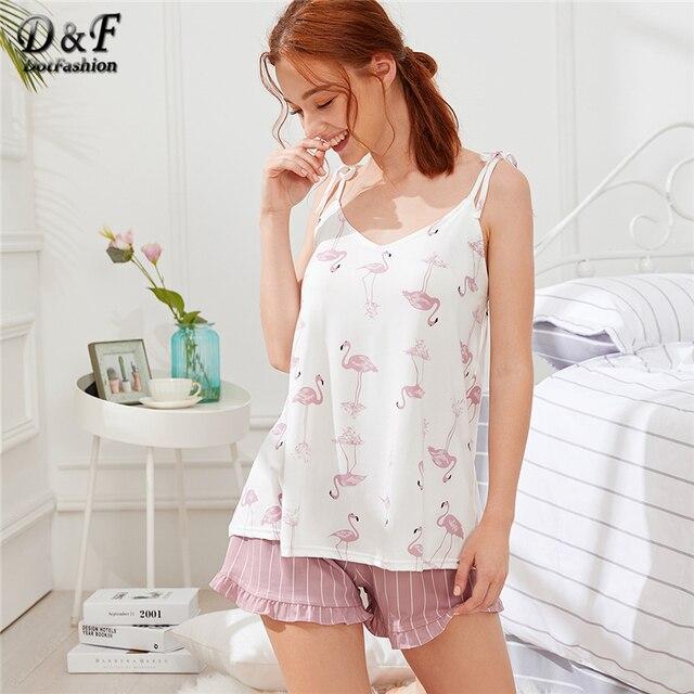 75ceb69e4588a Dotfashion Flamingo Print Cami Top and Striped Shorts PJ Sets Summer  Spaghetti Strap Sleeveless Frill Women