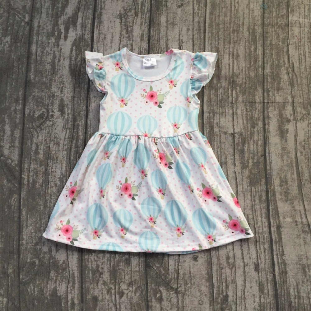 2018 Summer new arrivals balloon pattern dress Summer clothing baby kids girls boutique short selleves maxi dress 12m-8t