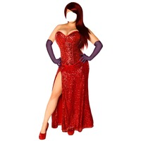 2018 Who Framed Roger Rabbit Jessica Rabbit cosplay costume red dress with gloves