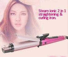 Z019 styling herramientas 2 en 1 vapor iónico enderezar hierro y curling irons plancha de pelo hierro plano pranchas de cabelo