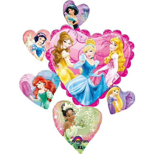 2pcs Lot America Imported Cartoon Princess Hearts Foil Balloons Anagram Decorative Birthday Balloon Party Supplies Kids Toy