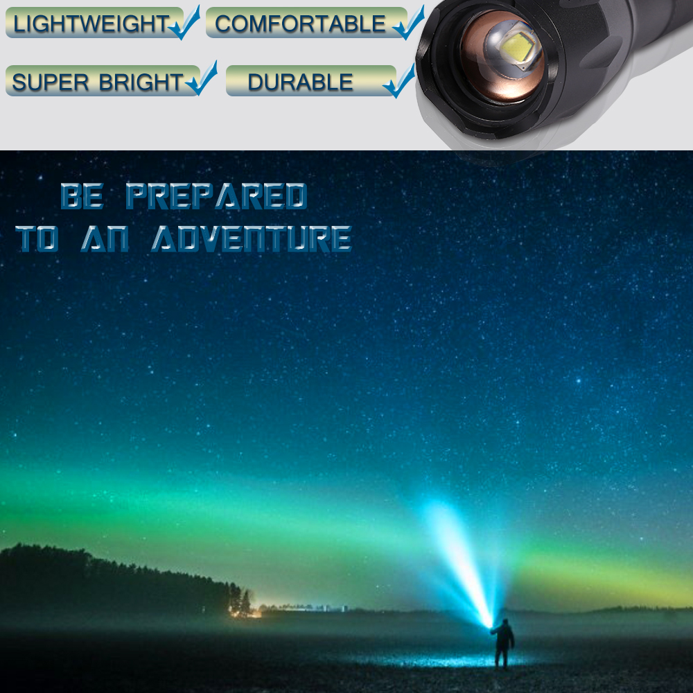 Купить с кэшбэком XP-L-V6 L2 LED Tactical Flashlight Led Torch Zoom LED Flashlight Waterproof Torch Light For AAA 18650 Rechargeable