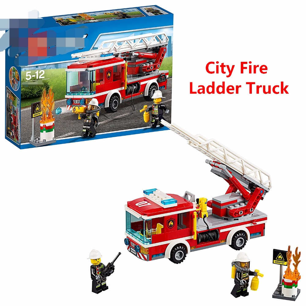New Christmas gift City Rescue Team Fire Ladder Truck Kit Building BLocks Set educational toys Boys Compatible With Lego 60107 380pcs fire branch city enlighten bricks toy for children ladder truck building blocks fire fighter figures boys gift k0411 910