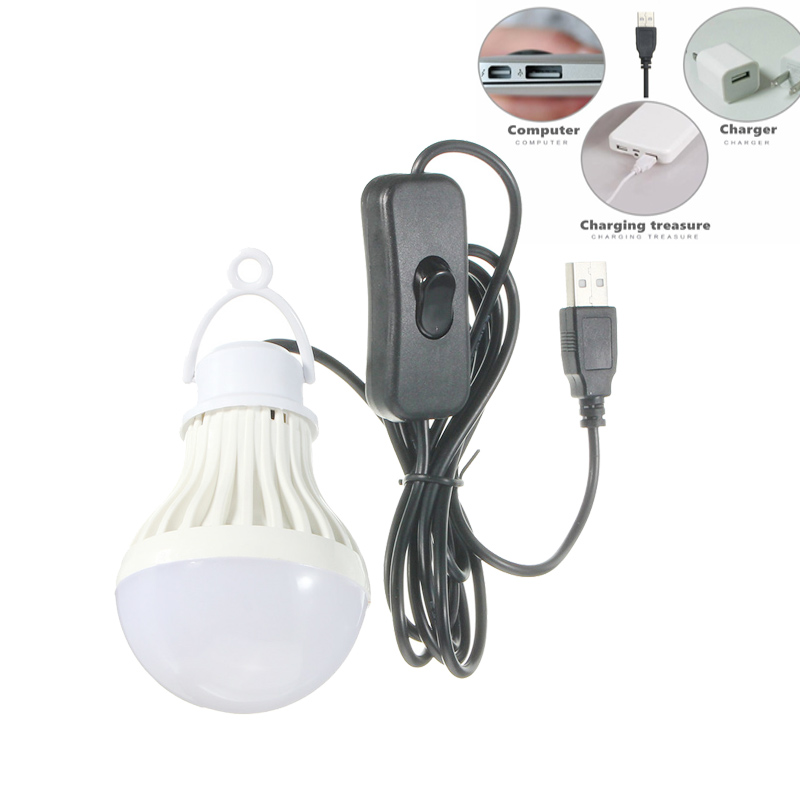 USB LED Bulb Switch DC5V 5W White Color Warm White Lamp Home Emergency Portable LED Night Reading Light Outdoor Camping Lampada mini portable 5w usb led light bulb 360 degree energy saving outdoor emergency lamp pc laptop computer power bank reading bulb