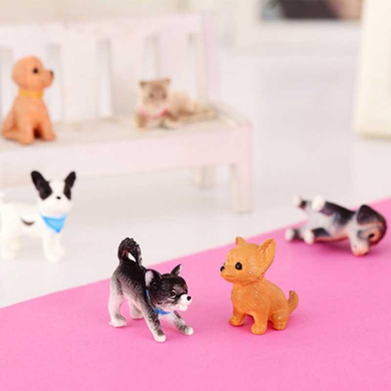 6 יחידות 1:12 בית בובות דגם חתול וכלב בית בובות מיניאטורות קישוט