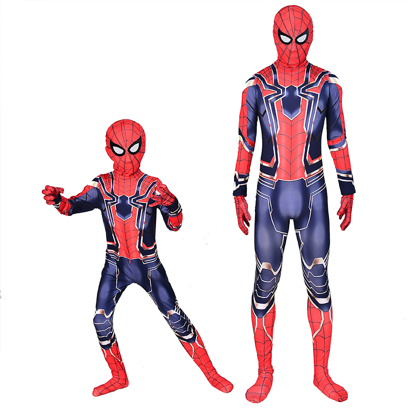 New 2019 Spiderman Homecoming Cosplay Costume Halloween Zentai Iron Spider Man Superhero Bodysuit Suit Jumpsuits for Kids Adults