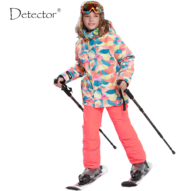 FREE SHIPPING skiing jacket+pant snow suit fur lining -20-30 DEGREE ski suit Detector kids winter clothing set for boys