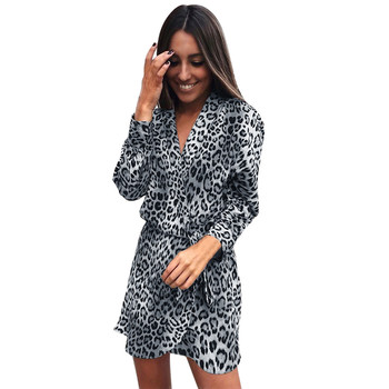 FeiTong Sexy Women Dress 2018 Long Sleeve Fashion Leopard Print Pattern Irregular Dress Woman Clothes Vintage Dress 1