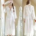2017 Nuevo Verano Mujeres Camisón Blanco Largo de Encaje Sexy Camisón de La Princesa para Mujer ropa de Dormir ropa de Dormir de Mujer Ropa de Hogar 2XL 48
