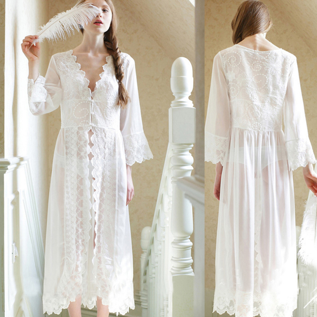 f45021a7d2c US $16.95 48% OFF 2019 Nieuwe Zomer Lange Witte Nachtjapon Vrouwen Sexy  Kant Nachtjapon Prinses Dames Nachtkleding Vrouwelijke Nachtkleding Thuis  ...