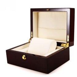 Światło czerwone drewniane pudełko na zegarek z zamkiem nowy marka zegarek mechaniczny zegarek organizator prezent pudełko z PU poduszka|wood watch box|brand watch boxwatch box -