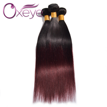 Brazilian Virgin Hair Straight 1B/99J Brazilian Straight Hair 3Pcs 7A Ombre Brazilian Hair Weave Bundles Two Tone Human Hair