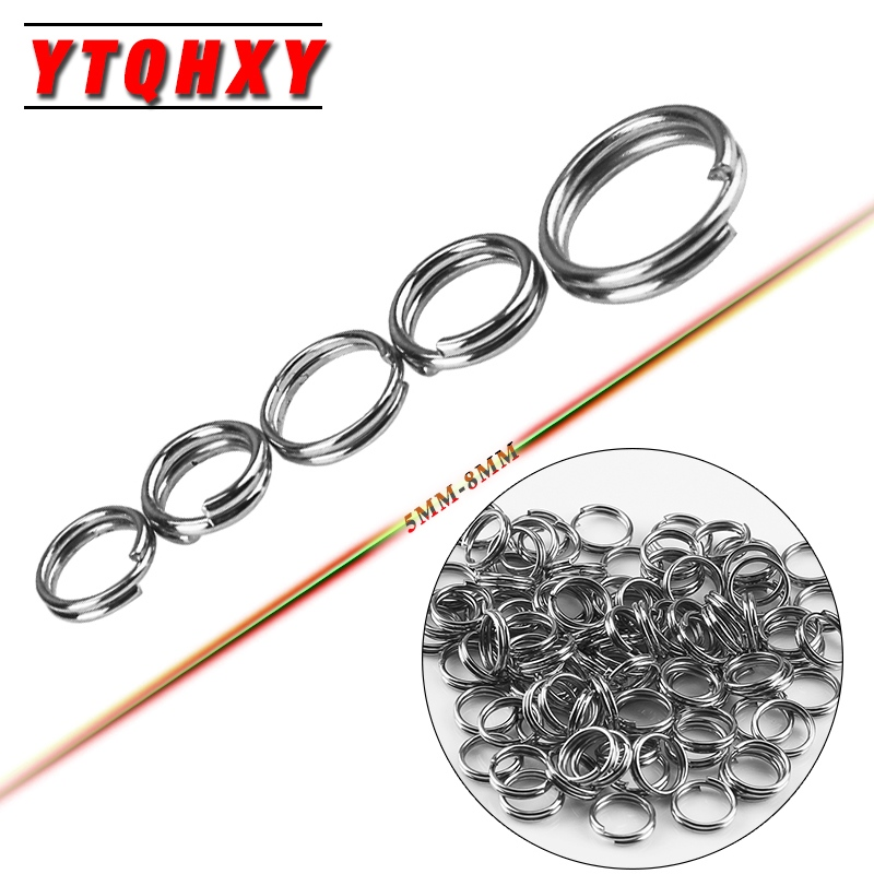 YTQHXY 100Pcs/lot Stainless Steel Split Rings for Crank Hard Bait carp Fishing Tools Double Loop Fishing Accessories YE-107 100 pcs pack stainless steel split rings for blank lures crank bait hard bait carp fishing tools double loop 4mm 5mm 7mm